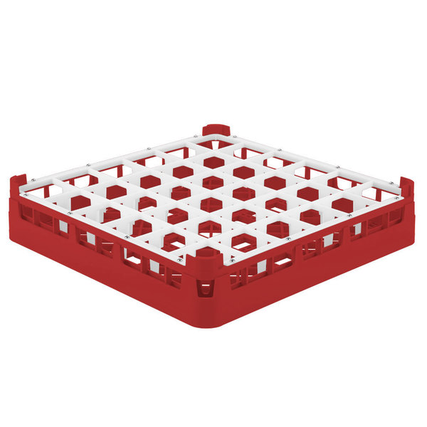 "Vollrath 52778 Signature Full-Size Red 36-Compartment 3 1/4"" Short Plus Glass Rack"