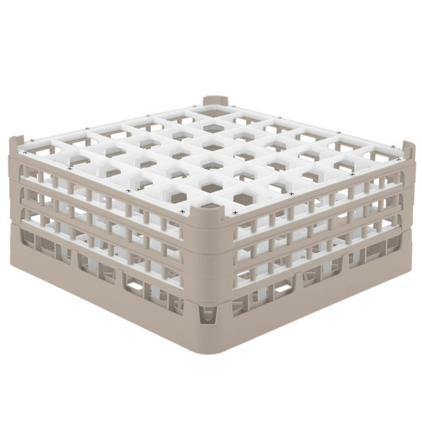 "Vollrath 52781 Signature Full-Size Beige 36-Compartment 7 11/16"" X-Tall Plus Glass Rack Main Image 1"