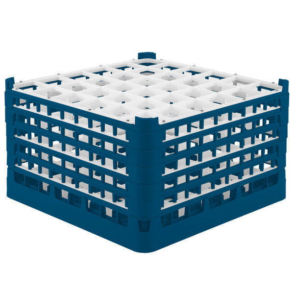 """Vollrath 52783 Signature Full-Size Royal Blue 36-Compartment 10 9/16"""" XXX-Tall Plus Glass Rack"""