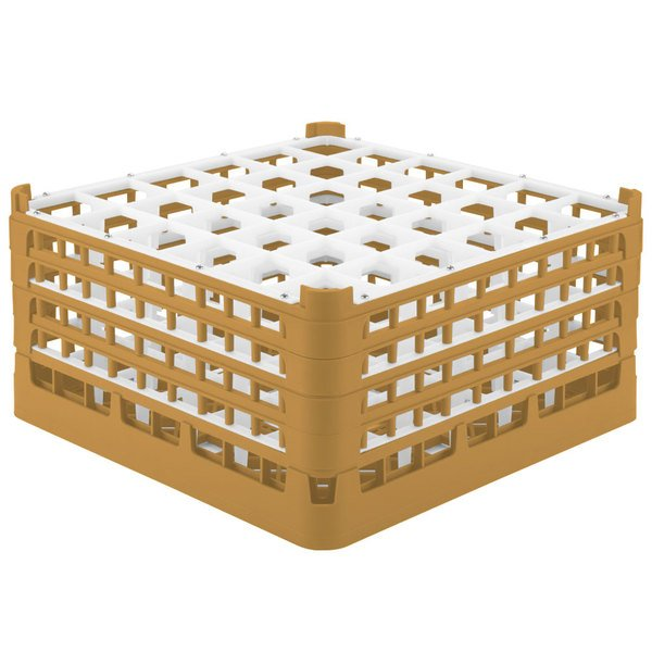 """Vollrath 52782 Signature Full-Size Gold 36-Compartment 9 1/16"""" XX-Tall Plus Glass Rack Main Image 1"""