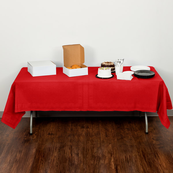 "Creative Converting 711031B 54"" x 108"" Classic Red Tissue / Poly Table Cover Main Image 5"