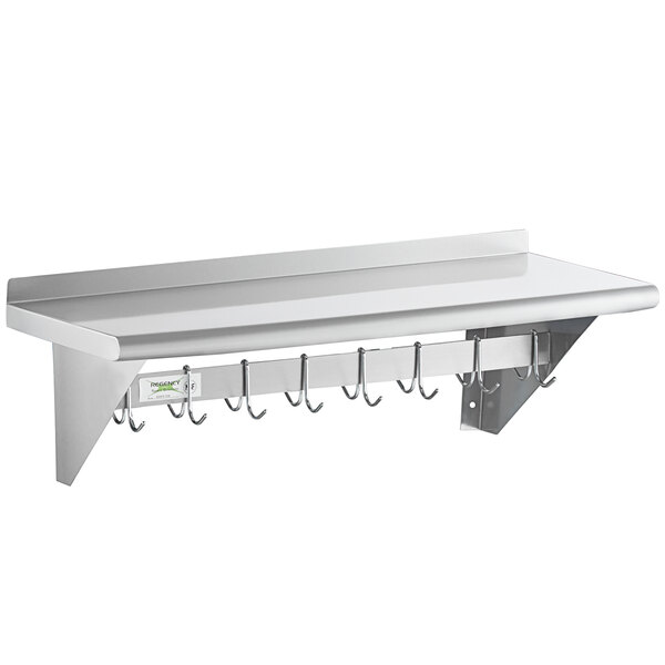 Regency 15 X 36 Stainless Steel Wall Mounted Pot Rack With Shelf And 18 Galvanized Hooks
