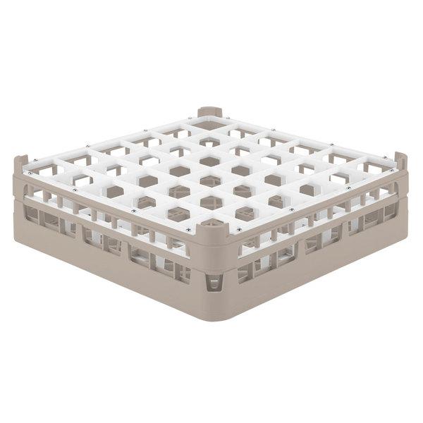 """Vollrath 52779 Signature Full-Size Beige 36-Compartment 4 13/16"""" Medium Plus Glass Rack"""