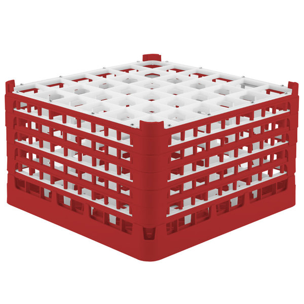 """Vollrath 52783 Signature Full-Size Red 36-Compartment 10 9/16"""" XXX-Tall Plus Glass Rack"""