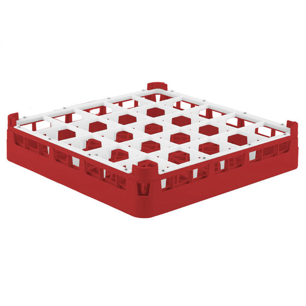 "Vollrath 52684 Signature Full-Size Red 25-Compartment 2 13/16"" Short Glass Rack"