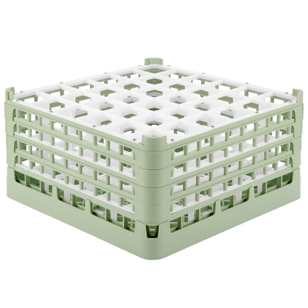 "Vollrath 52782 Signature Full-Size Light Green 36-Compartment 9 1/16"" XX-Tall Plus Glass Rack"