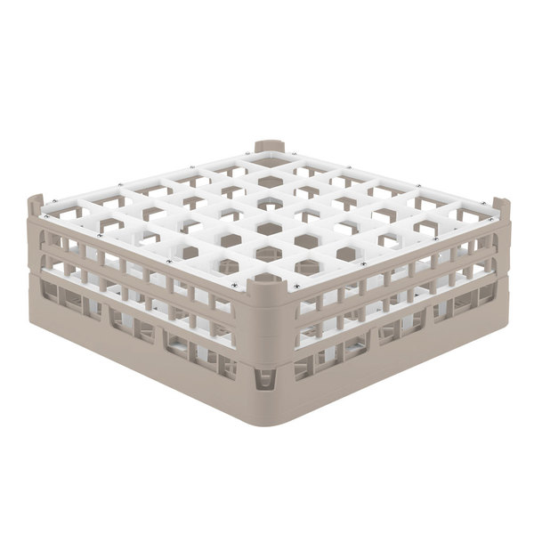 "Vollrath 52780 Signature Full-Size Beige 36-Compartment 6 1/4"" Tall Plus Glass Rack"