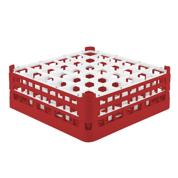 """Vollrath 52780 Signature Full-Size Red 36-Compartment 6 1/4"""" Tall Plus Glass Rack"""