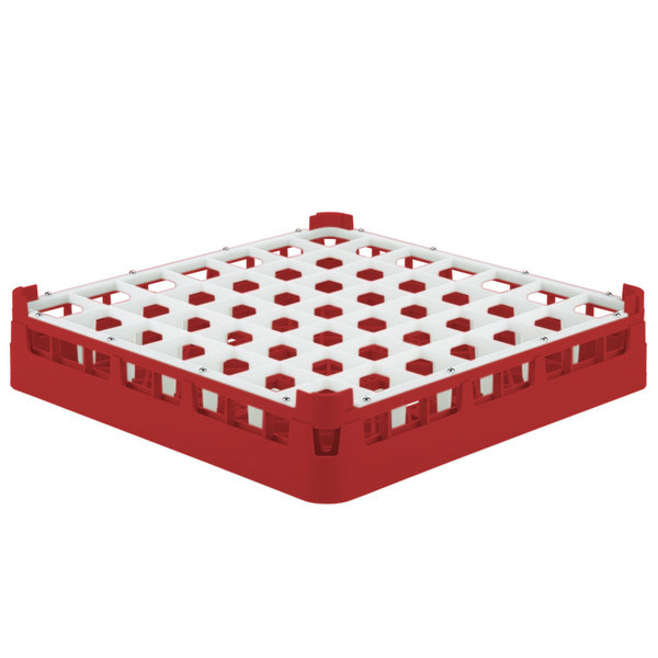 "Vollrath 52784 Signature Full-Size Red 49-Compartment 3 1/4"" Short Plus Glass Rack"