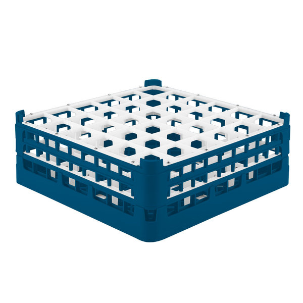 "Vollrath 52780 Signature Full-Size Royal Blue 36-Compartment 6 1/4"" Tall Plus Glass Rack"