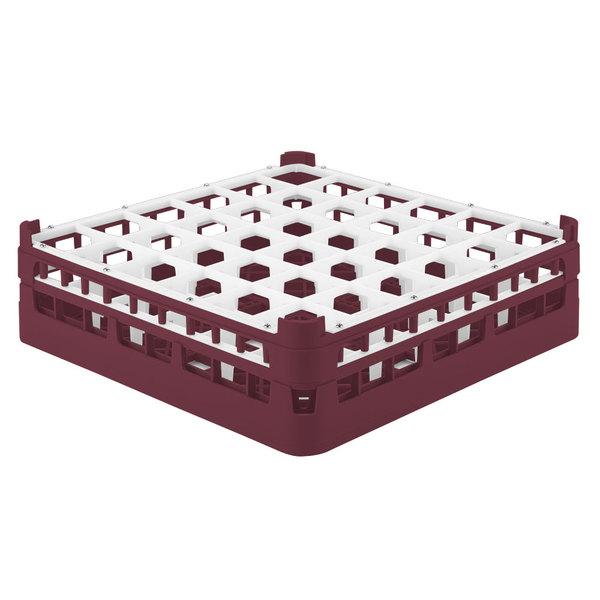 """Vollrath 52779 Signature Full-Size Burgundy 36-Compartment 4 13/16"""" Medium Plus Glass Rack"""