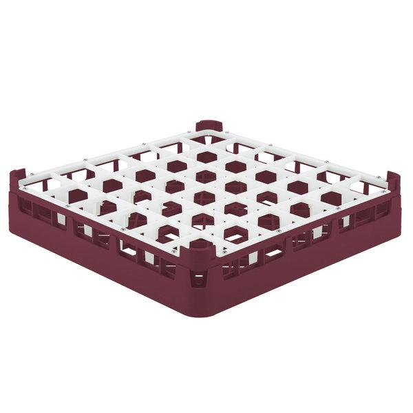 "Vollrath 52778 Signature Full-Size Burgundy 36-Compartment 3 1/4"" Short Plus Glass Rack Main Image 1"