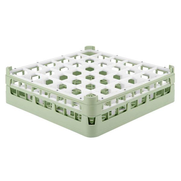 """Vollrath 52779 Signature Full-Size Light Green 36-Compartment 4 13/16"""" Medium Plus Glass Rack Main Image 1"""