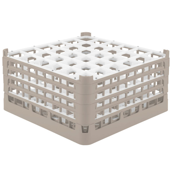 """Vollrath 52782 Signature Full-Size Beige 36-Compartment 9 1/16"""" XX-Tall Plus Glass Rack Main Image 1"""