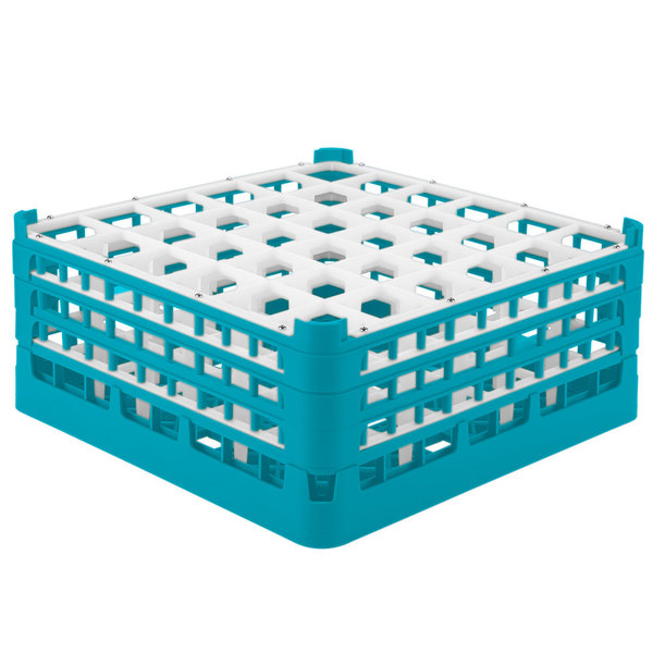"""Vollrath 52781 Signature Full-Size Light Blue 36-Compartment 7 11/16"""" X-Tall Plus Glass Rack Main Image 1"""
