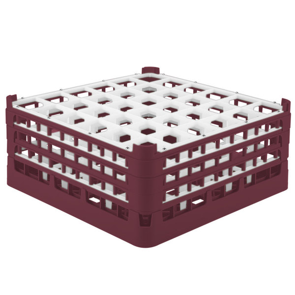 """Vollrath 52781 Signature Full-Size Burgundy 36-Compartment 7 11/16"""" X-Tall Plus Glass Rack"""