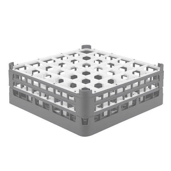 """Vollrath 52780 Signature Full-Size Gray 36-Compartment 6 1/4"""" Tall Plus Glass Rack"""