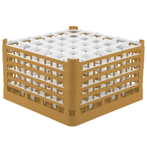 "Vollrath 52783 Signature Full-Size Gold 36-Compartment 10 9/16"" XXX-Tall Plus Glass Rack"