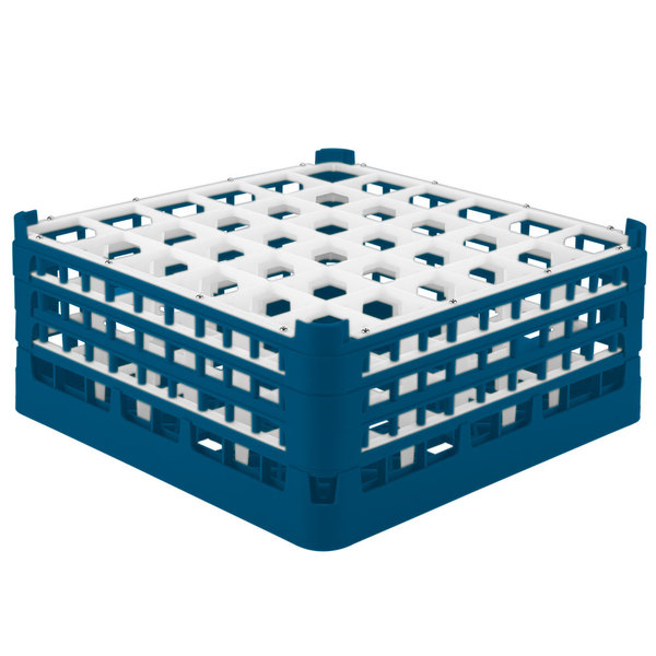 """Vollrath 52781 Signature Full-Size Royal Blue 36-Compartment 7 11/16"""" X-Tall Plus Glass Rack Main Image 1"""