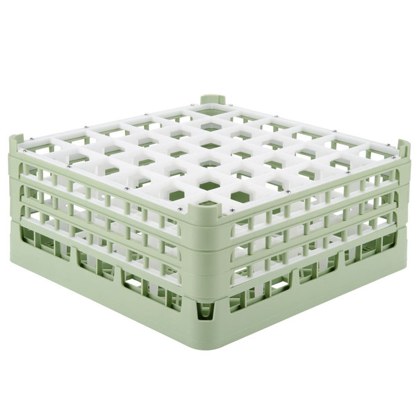 "Vollrath 52781 Signature Full-Size Light Green 36-Compartment 7 11/16"" X-Tall Plus Glass Rack Main Image 1"