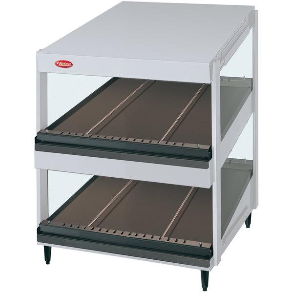 """Hatco GRSDS-24D White Granite Glo-Ray 24"""" Slanted Double Shelf Merchandiser - 120V"""