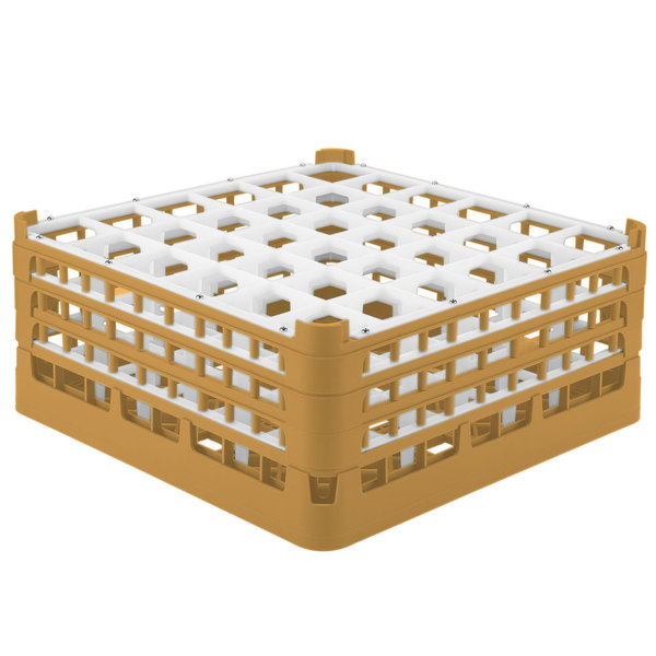 "Vollrath 52781 Signature Full-Size Gold 36-Compartment 7 11/16"" X-Tall Plus Glass Rack"