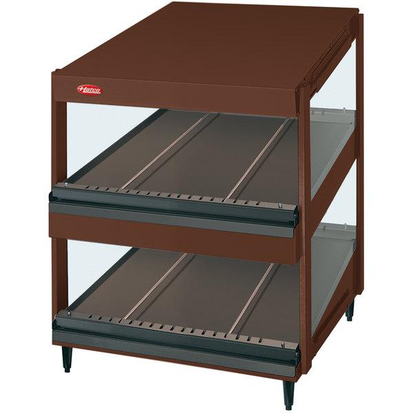 "Hatco GRSDS-24D Antique Copper Glo-Ray 24"" Slanted Double Shelf Merchandiser - 120V"