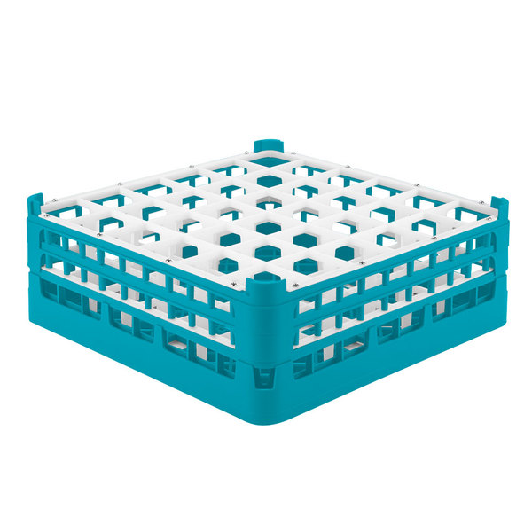 "Vollrath 52780 Signature Full-Size Light Blue 36-Compartment 6 1/4"" Tall Plus Glass Rack"