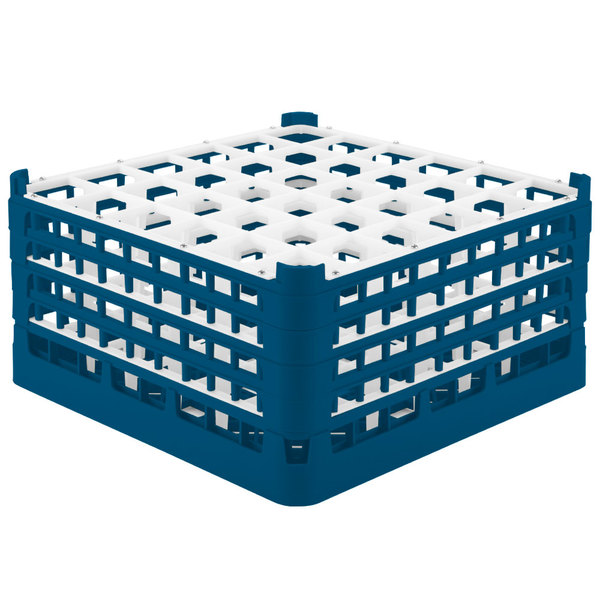 """Vollrath 52782 Signature Full-Size Royal Blue 36-Compartment 9 1/16"""" XX-Tall Plus Glass Rack"""