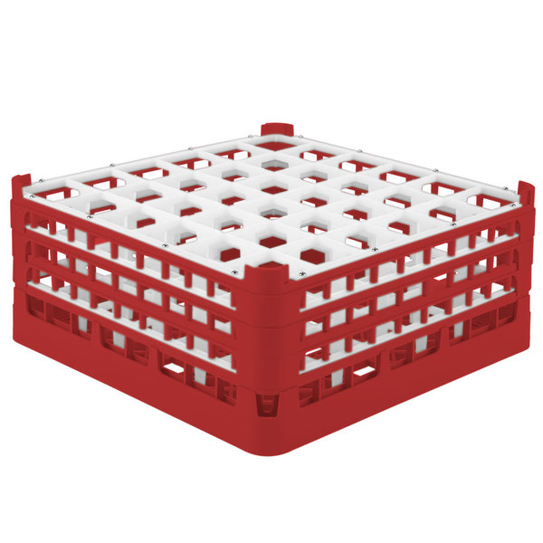 "Vollrath 52781 Signature Full-Size Red 36-Compartment 7 11/16"" X-Tall Plus Glass Rack"
