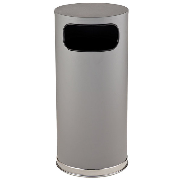 Rubbermaid FGSO17SCGRGL Crowne Textured Gray with Satin Chrome Accents Round Steel Waste Receptacle with Galvanized Steel Liner 15 Gallon Main Image 1