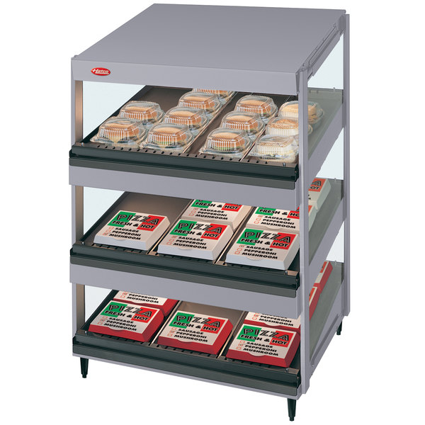 "Hatco GRSDS-24T Gray Granite Glo-Ray 24"" Slanted Triple Shelf Merchandiser - 120V"