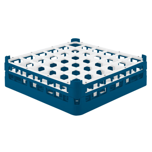 """Vollrath 52779 Signature Full-Size Royal Blue 36-Compartment 4 13/16"""" Medium Plus Glass Rack"""