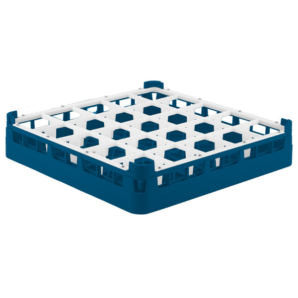 """Vollrath 52684 Signature Full-Size Royal Blue 25-Compartment 2 13/16"""" Short Glass Rack Main Image 1"""
