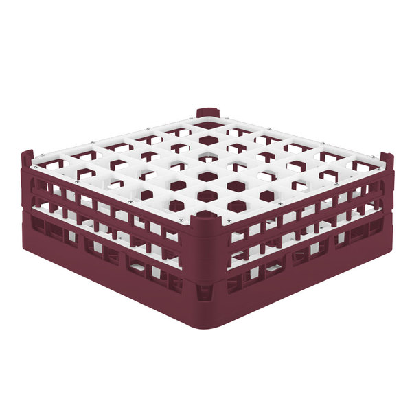 """Vollrath 52780 Signature Full-Size Burgundy 36-Compartment 6 1/4"""" Tall Plus Glass Rack"""