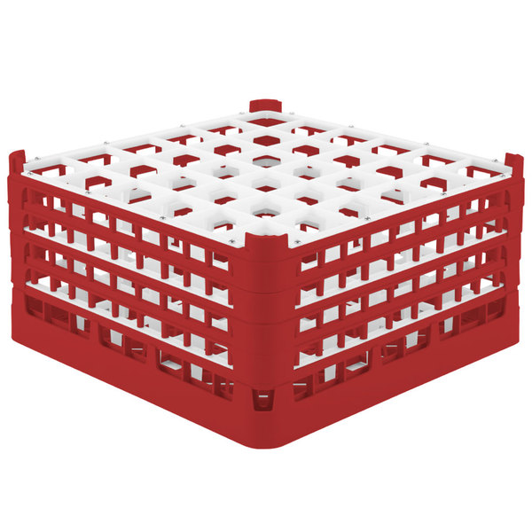"Vollrath 52782 Signature Full-Size Red 36-Compartment 9 1/16"" XX-Tall Plus Glass Rack"