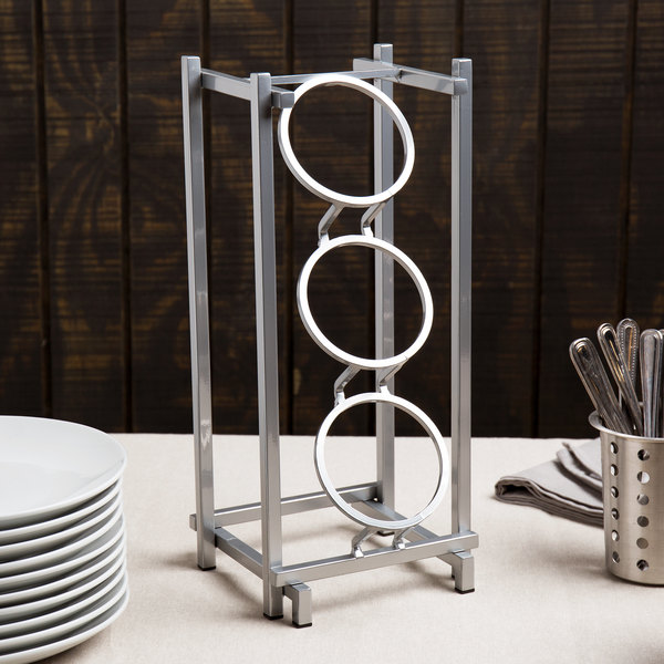 """Cal-Mil 1134-74 Silver One By One Three Compartment Metal Silverware Holder - 7 1/2"""" x 6 1/2"""" x 17 3/4"""""""