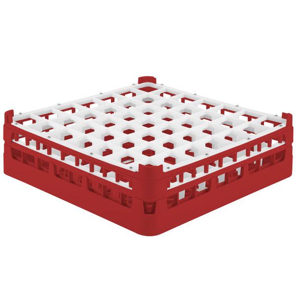 """Vollrath 52785 Signature Full-Size Red 49-Compartment 4 13/16"""" Medium Plus Glass Rack"""