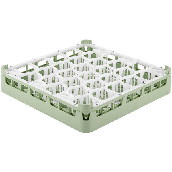 "Vollrath 52811 Signature Lemon Drop Full-Size Light Green 30-Compartment 3 1/4"" Short Plus Glass Rack"
