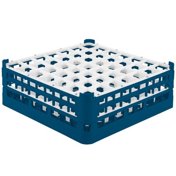 """Vollrath 52786 Signature Full-Size Royal Blue 49-Compartment 6 1/4"""" Tall Plus Glass Rack Main Image 1"""