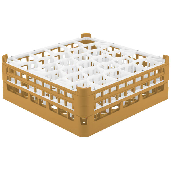 "Vollrath 52817 Signature Lemon Drop Full-Size Gold 30-Compartment 6 1/4"" Tall Plus Glass Rack Main Image 1"