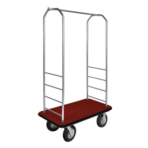 """CSL 2099BK-010 Stainless Steel Finish Bellman's Cart with Rectangular Red Carpet Base, Black Bumper, Clothing Rail, and 8"""" Black Pneumatic Casters - 43"""" x 23"""" x 72 1/2"""" Main Image 1"""
