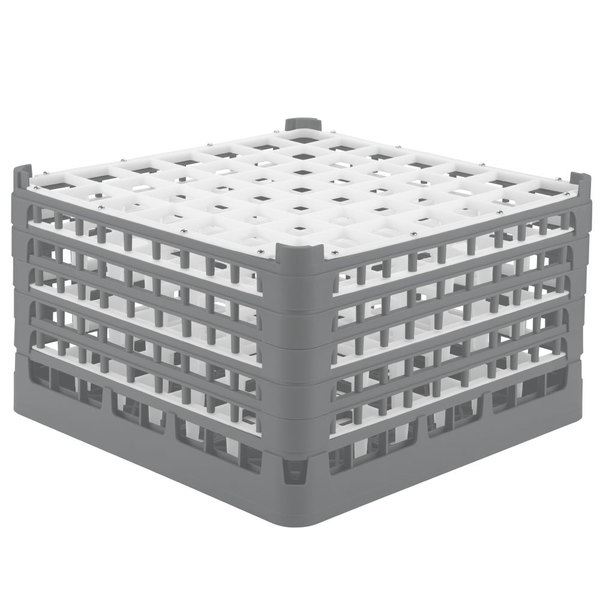 """Vollrath 52789 Signature Full-Size Gray 49-Compartment 10 9/16"""" XXX-Tall Plus Glass Rack Main Image 1"""