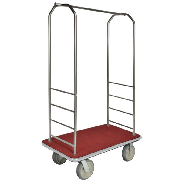 """CSL 2099GY-040 Stainless Steel Finish Bellman's Cart with Rectangular Red Carpet Base, Gray Bumper, Clothing Rail, and 5"""" Gray Polyurethane Casters - 43"""" x 23"""" x 72 1/2"""" Main Image 1"""