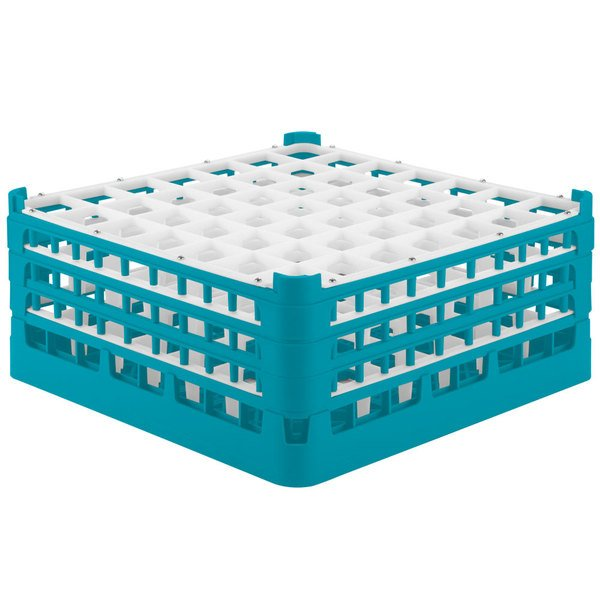 "Vollrath 52787 Signature Full-Size Light Blue 49-Compartment 7 11/16"" X-Tall Plus Glass Rack"