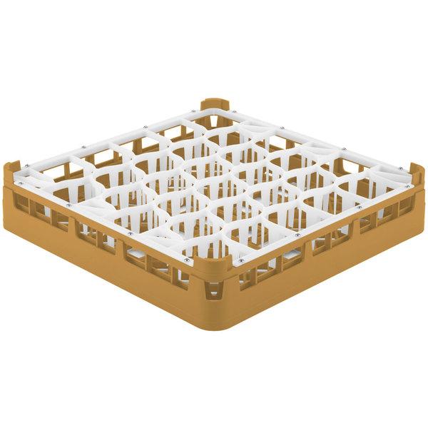 "Vollrath 52811 Signature Lemon Drop Full-Size Gold 30-Compartment 3 1/4"" Short Plus Glass Rack Main Image 1"