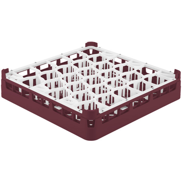 "Vollrath 52811 Signature Lemon Drop Full-Size Burgundy 30-Compartment 3 1/4"" Short Plus Glass Rack"