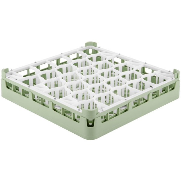 "Vollrath 52790 Signature Lemon Drop Full-Size Light Green 30-Compartment 2 13/16"" Short Glass Rack"