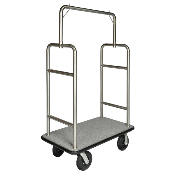 "CSL 2599BK-010-GRY Stainless Steel Finish Heavy Duty Bellman's Cart with Rectangular Gray Carpet Base, Black Bumper, Squared Top Clothing Rail, and 8"" Black Pneumatic Casters - 44"" x 24"" x 69"""