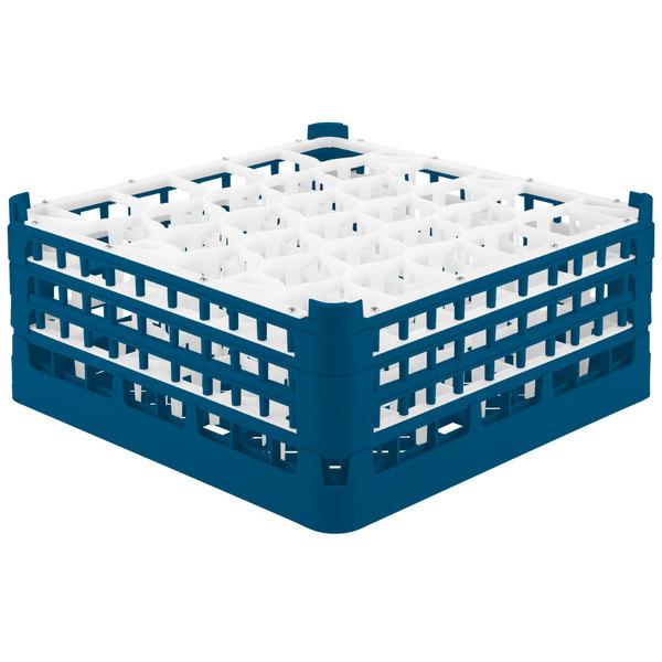 "Vollrath 52832 Signature Lemon Drop Full-Size Royal Blue 30-Compartment 7 1/8"" X-Tall Glass Rack"